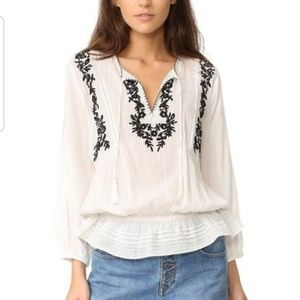 Joie 100% Cotton Embroidered Peasant Top